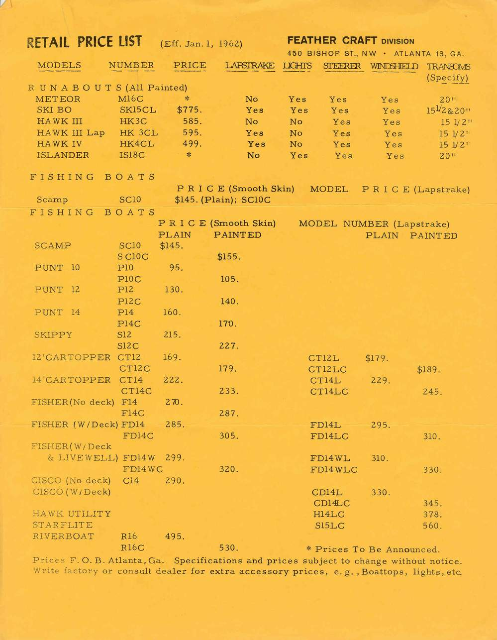 Feather Craft 1962 Catalog
